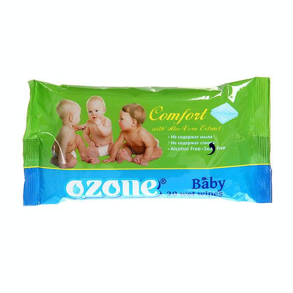 Салфетки влажные детские 20шт OZON с экстр.алоэ (прямоуг.упаковка) (480) купить оптом и в розницу