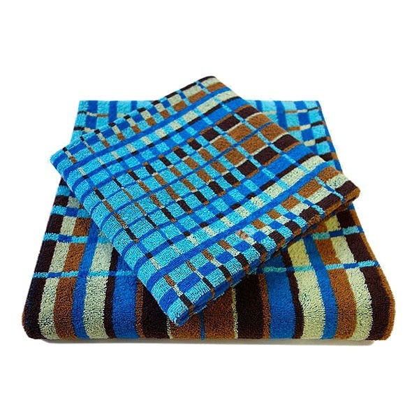 Махровое полотенце 50*100см лазурно-коричневое пестротканное пляжное ЖК100-4-116-059 купить оптом и в розницу