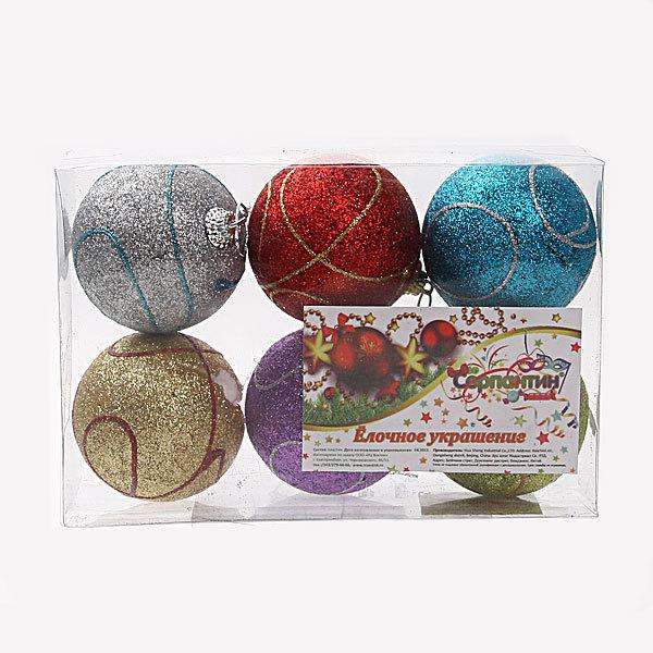 Новогодние шары (6шт) d-6см 31983 купить оптом и в розницу