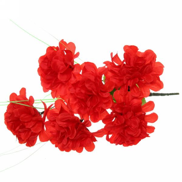 Цветы искусственные 30см букет Георгины 6 цветков красные купить оптом и в розницу