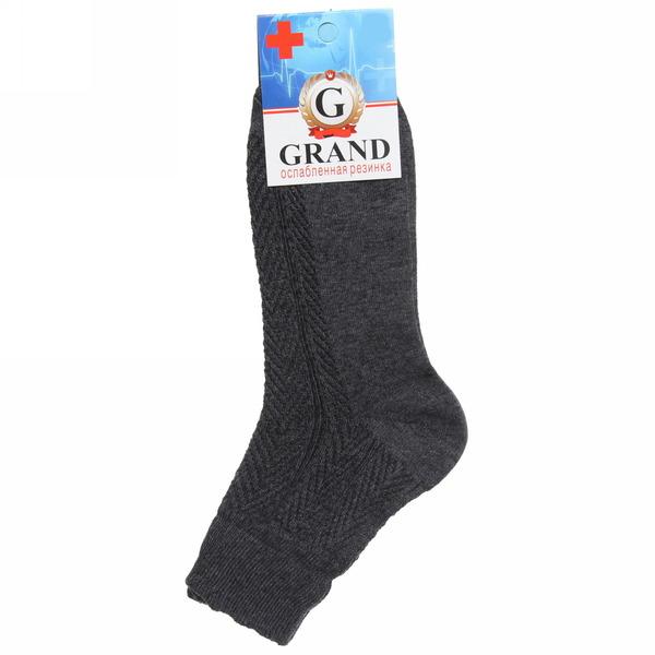 Носки мужские GRAND, ослабленная резинка, цвет асфальт р. 25 купить оптом и в розницу