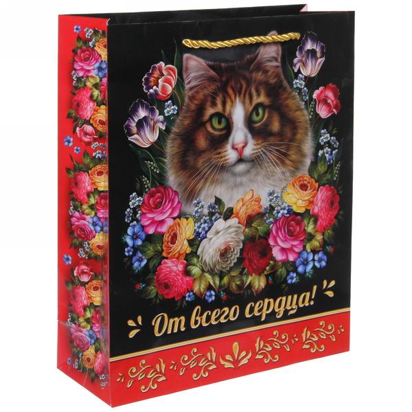 Пакет 26х32 см глянцевый ″От всего сердца!″, Жостовская кошка, вертикальный купить оптом и в розницу