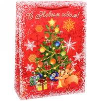 Пакет 32х43 см усиленный с блестками ″С Новым годом!″, Белочка, вертикальный купить оптом и в розницу