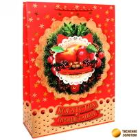 Пакет подарочный 32х43 см вертикальный ″Богатства и процветания″, Яблочный праздник купить оптом и в розницу