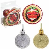 Набор ёлочных шаров (4шт*4см) с подвеской ″Здоровья и счастья в дом!″ (зол-крас) купить оптом и в розницу
