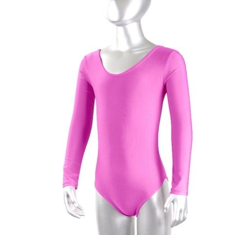 Купальник гимнастический лайкра длин.рукав, розовый р. 44 купить оптом и в розницу