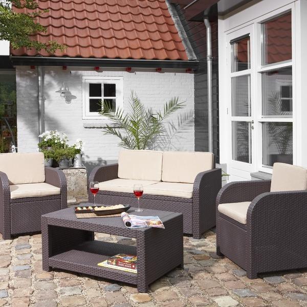 Набор мебели Modena(2 стула, диван, стол)  корич./песочн. с подушками купить оптом и в розницу