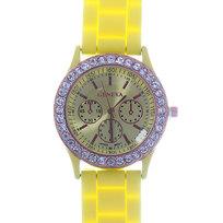 Часы наручные на силиконовом ремешке со стразами Женева, цвет желтый купить оптом и в розницу