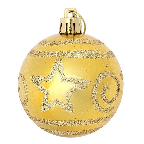 Новогодние шары ″Золотая звезда на золоте″ 6см (набор 6шт.) купить оптом и в розницу