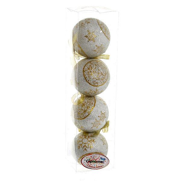 Новогодние шары ″Золотые снежинки″ 8см (набор 4шт.) купить оптом и в розницу