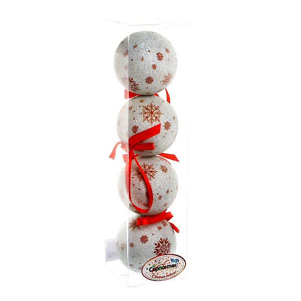 Новогодние шары ″Рубиновые снежинки″ 8см (набор 4шт.) купить оптом и в розницу
