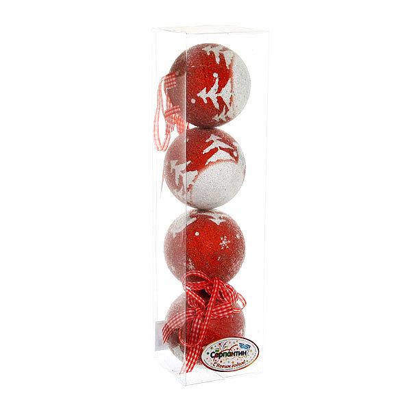 Новогодние шары ″Снежный лес″ 8см (набор 4шт.) купить оптом и в розницу