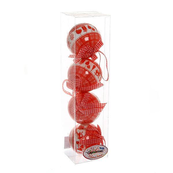 Новогодние шары ″Рождественский уют″ 8см (набор 4шт.) купить оптом и в розницу