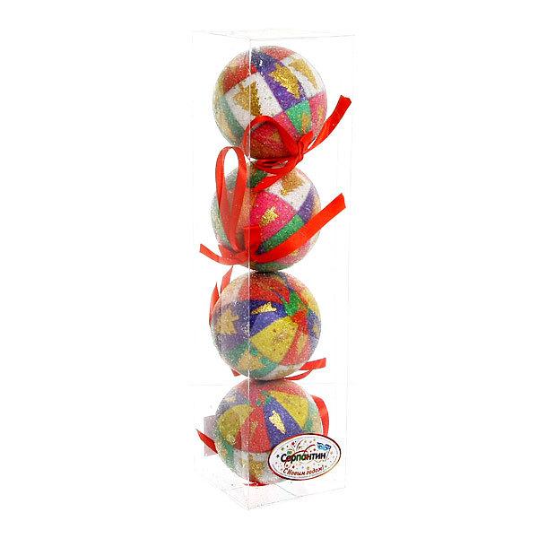 Новогодние шары ″Радужная ёлочка″ 8см (набор 4 шт.) купить оптом и в розницу