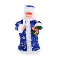 Дед Мороз музыкальный 25см со свечой в синей шубе купить оптом и в розницу