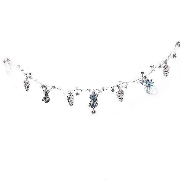 Бусы на ёлку серебро 1,5м ″Ангелочки, шишки и звездочки″ купить оптом и в розницу
