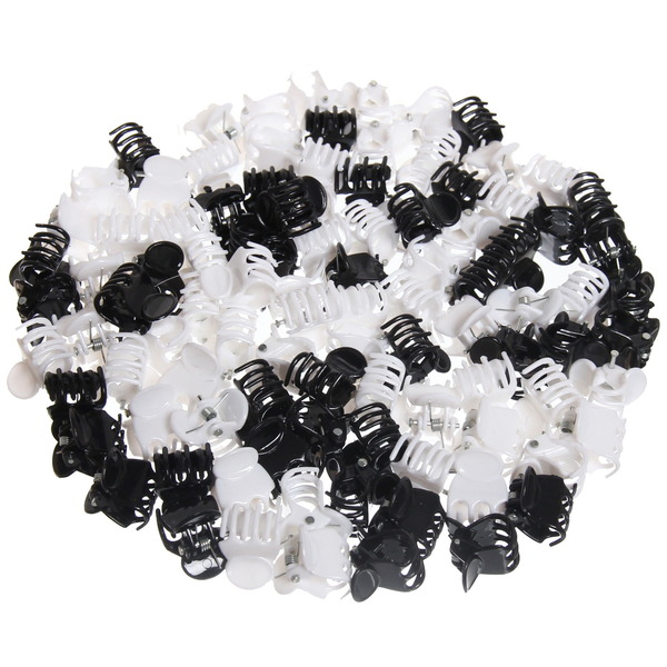 Заколка-краб для волос в пакете 100шт ″Вэлла - классика″, цвет черный и белый, l-1,5см купить оптом и в розницу