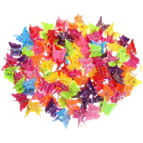 Заколка-краб для волос в пакете 100шт ″Глянцевые бабочки″, цвет микс, l-2см купить оптом и в розницу
