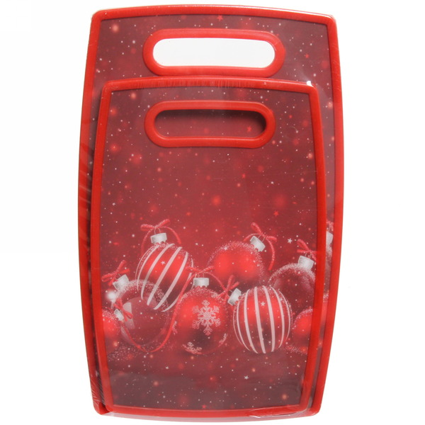 Доска разделочная пластиковая ″Новогодние игрушки″ в наборе 2шт купить оптом и в розницу