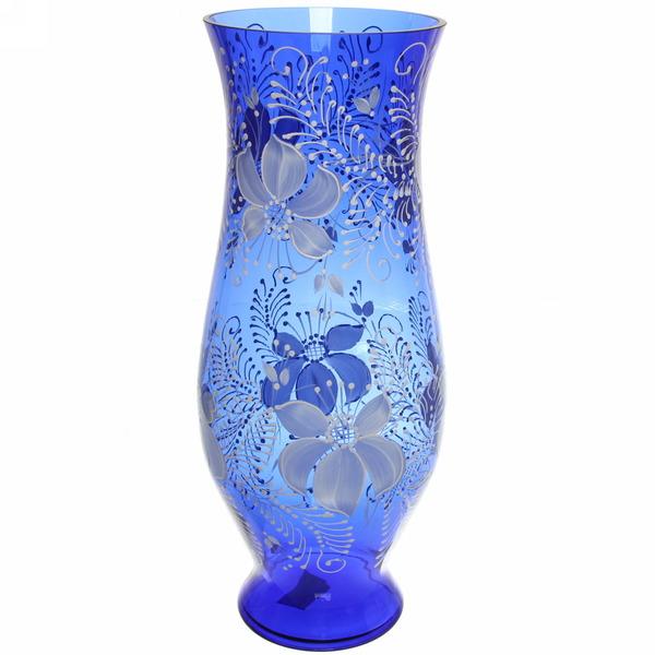 Ваза стеклянная 40см синяя,ручная роспись купить оптом и в розницу
