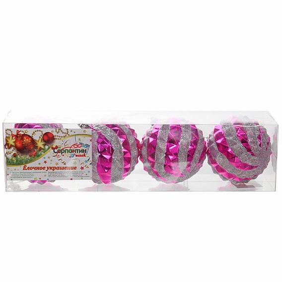Новогодние шары ″Зимний ветерок.Розовый″ 8см (набор 4шт.) купить оптом и в розницу
