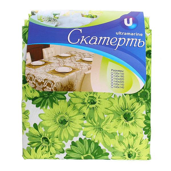 Скатерть ″Летнее настроение″ 150*220см, хризантемы зеленые Ультрамарин купить оптом и в розницу