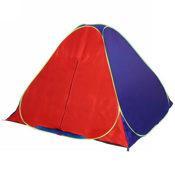 Палатка самораскладывающаяся 3-местная 1-слойная, цвет красно-синий, 200*200*135 купить оптом и в розницу