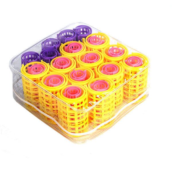 Бигуди пластмассовые с зажимом 29шт, в косметичке, размер микс купить оптом и в розницу