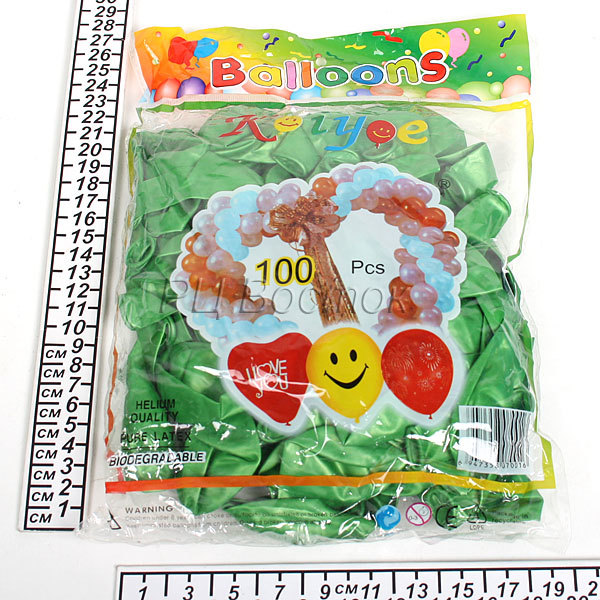 Воздушный шар 9″/22см (набор 100штук) Металлик Салатовые (100штук) 1292-9 купить оптом и в розницу