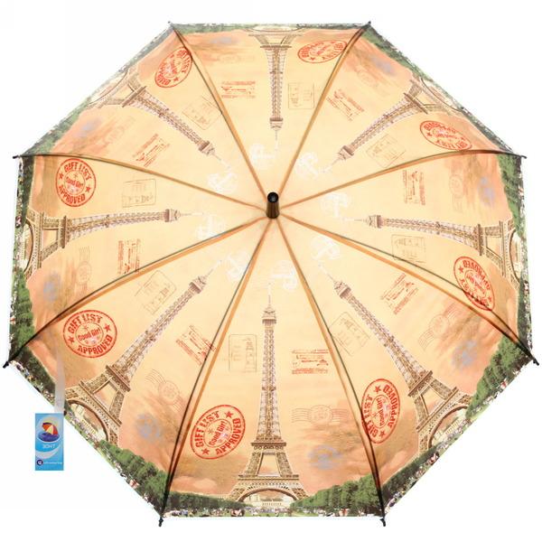 Зонт-трость женский ″Города″ микс 6 расцветок, 8 спиц, d-95см, длина в слож. виде 55см купить оптом и в розницу