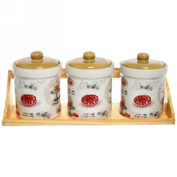 Банка для сыпучих продуктов в наборе 3шт ″Кекс″ 400мл, керамика, на подставке купить оптом и в розницу