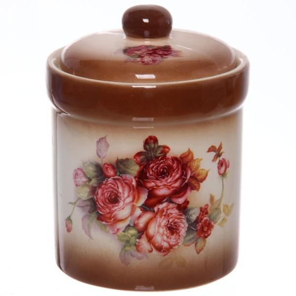 Банка для сыпучих продуктов в наборе 3шт ″Розы″ 400мл, керамика, на подставке купить оптом и в розницу
