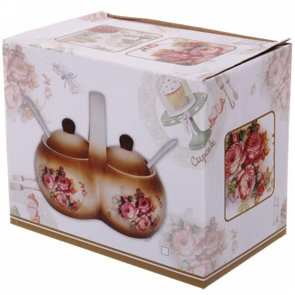 Набор банок для специй двойной 200мл ″Розы″ купить оптом и в розницу