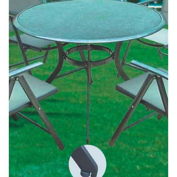 Столик дачный круглый Ф105*72см алюминий\стекло купить оптом и в розницу