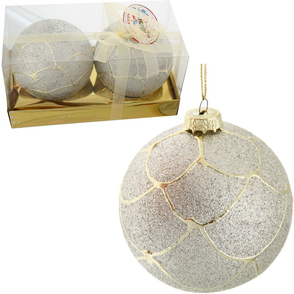 Новогодние шары ″Снежный шар с золотым узором″ 8см (набор 2шт.) купить оптом и в розницу