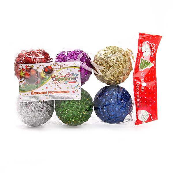 Новогодние шары Ассорти.Шишки″ 6см (набор 6шт.) купить оптом и в розницу