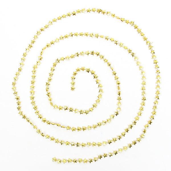 Бусы на ёлку золото 2,5м ″Звездочки″ купить оптом и в розницу