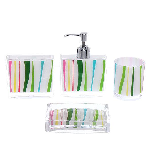 Набор для ванной из 4-х предметов 8002-7 полоски купить оптом и в розницу