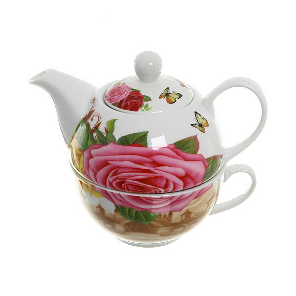 Набор чайный керамический 3 предмета (чайник 200мл+чайная пара) ″Лаура″ купить оптом и в розницу