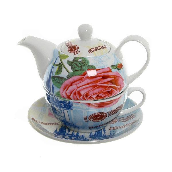 Набор чайный керамический 3 предмета (чайник 200мл+чайная пара) ″Города″ купить оптом и в розницу