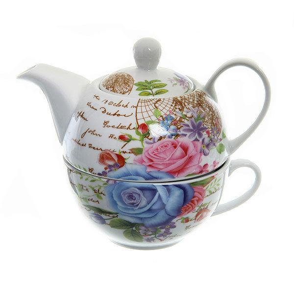 Набор чайный керамический 3 предмета (чайник200мл+чайная пара) ″Открытка″ купить оптом и в розницу