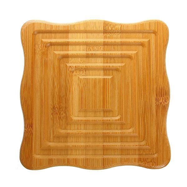 Подставка под горячее бамбуковая ″Резная″ 17*17 см купить оптом и в розницу