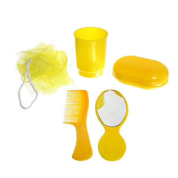 Банный-дорожный набор в косметичке ″В дорогу″ 5 предметов (расческа, зеркало, мочалка, мыльница, стакан) купить оптом и в розницу