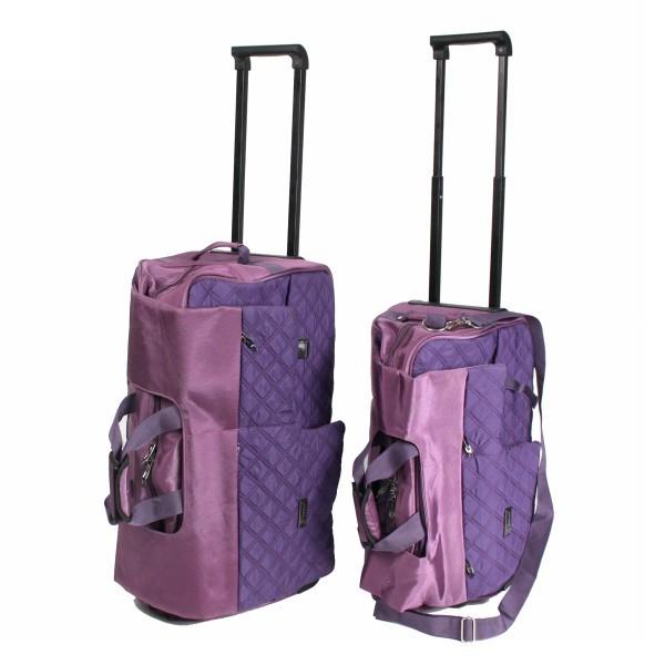 Сумка на колесах с выдвижной ручкой 2 шт, цвет фиолетовый 60*36*20, 50*30*25 купить оптом и в розницу