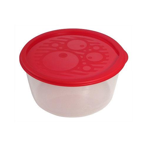 Контейнер пластиковый пищевой №4, 1,4л круглый низкий многофункциональный купить оптом и в розницу