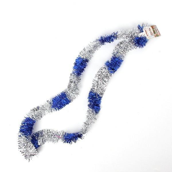 Мишура новогодняя 1,5 метра 5см ″Зебра″ серебро, синий купить оптом и в розницу
