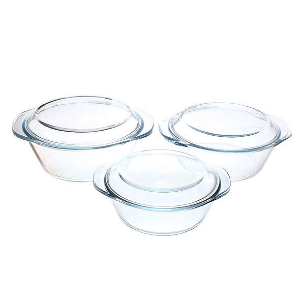 Набор кастрюль из жаропрочного стекла ″HELPER″ 3 предмета (1,2л; 1,8л; 2,3л) купить оптом и в розницу