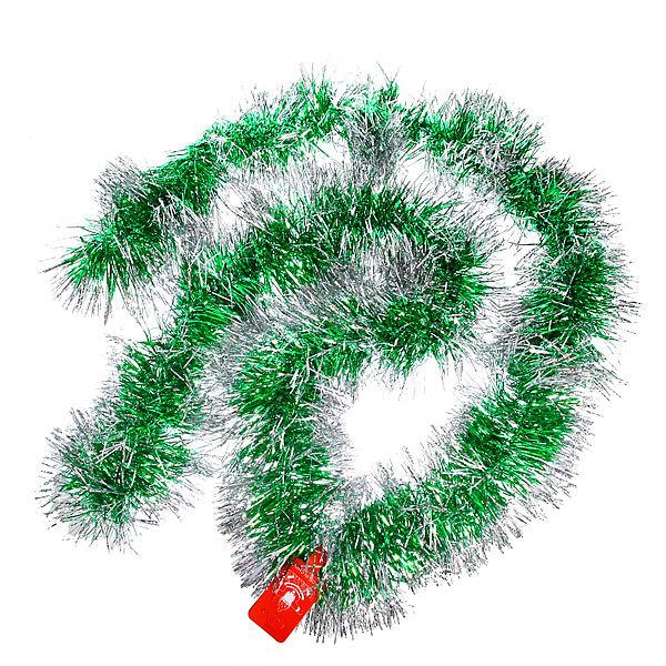 Мишура новогодняя 2 метра 14см ″Иней на ветке″ зеленый, серебро купить оптом и в розницу