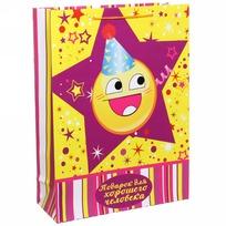 Пакет подарочный 32х43 см вертикальный ″Подарок для хорошего человека″, Смайлы купить оптом и в розницу