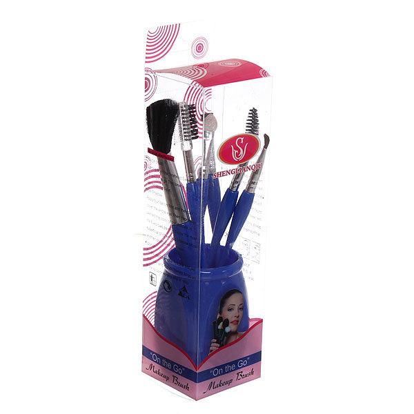 Кисти для макияжа в наборе 5шт со стаканом ″Рапсодия - классика″ купить оптом и в розницу